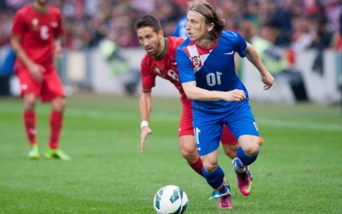 Kroatiens Luka Modric fotbollsstjärna
